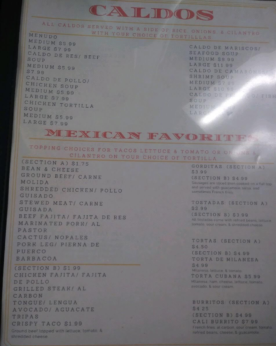 menutexrestaurant menus for texasmemo s mexican restaurant bar