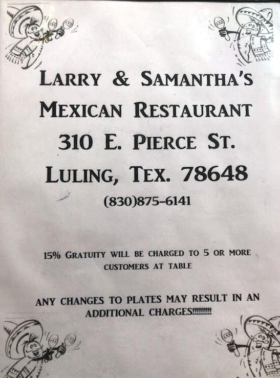 L S Mexican Restaurant Menu Luling Menutex