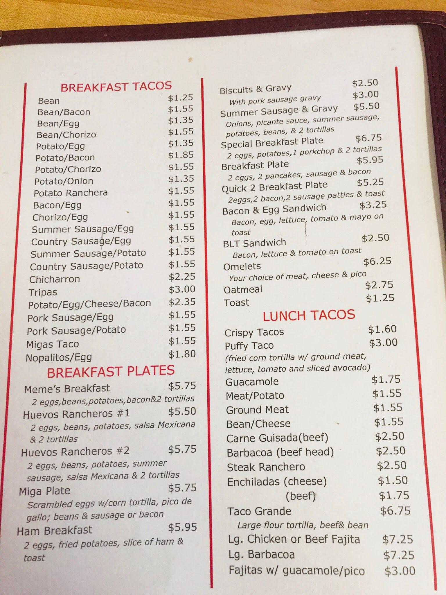 Meme S Mexican Restaurant Menu Luling Menutex